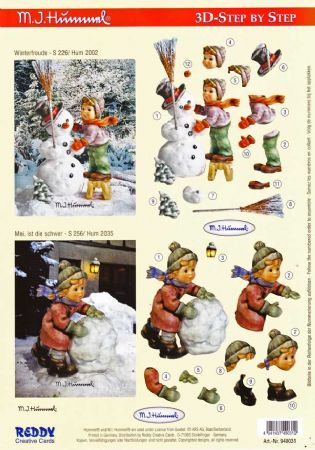 Hummel Children Building A Snowman  3d Decoupage Sheet by Reddy